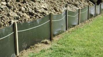 Erosion with a silt fence